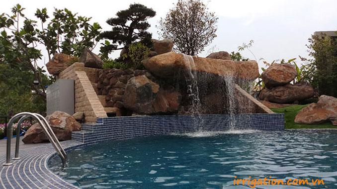 Thiết kế bể bơi có thác nước tràn Nhà hàng cafe Bến Hẹn