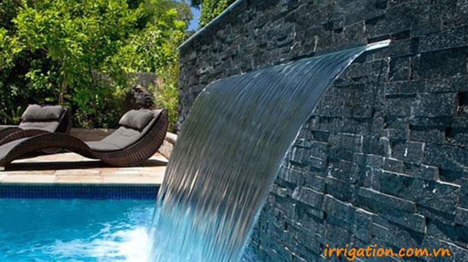 Tường nước tràn nghệ thuật bể bơi kết hợp đèn led