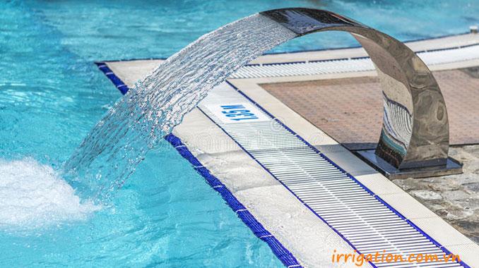 Thác nước tràn nghệ thuật bể bơi màn nước bằng inox